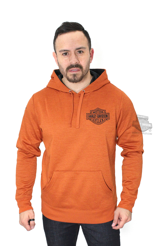 ** SIZE MEDIUM ONLY ** Harley-Davidson® Mens Iron Quenchers B&S Synthetic Fleece Pullover Texas Orange Long Sleeve Hoodie
