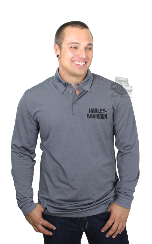 Harley-Davidson® Mens Charged Chrome Jacquard Synthetic Mesh Grey Long Sleeve Polo *2DY*