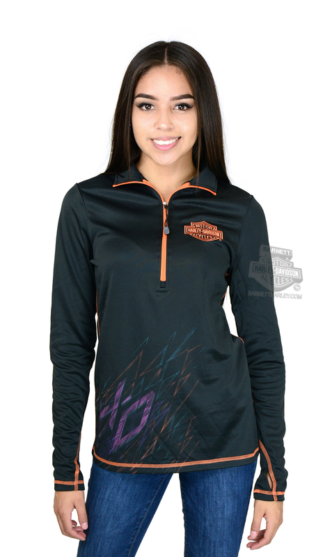 ** SMALL SIZES ONLY ** Harley-Davidson® Womens Love For Motorcycles B&S Synthetic Mock Neck 1/2-Zip Black Long Sleeve Sweatshirt