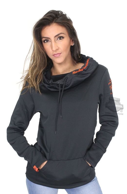 ** SMALL SIZES ONLY ** Harley-Davidson® Womens Melancholy Moonlight Synthetic Cowl Neck Pullover Black Long Sleeve Hoodie *72HR*