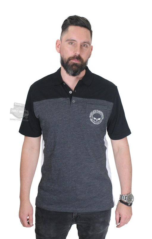 Harley-Davidson® Mens Skull and Fire Power Willie G Charcoal Short Sleeve Pocket Polo *36H3*