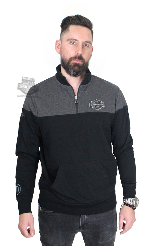** SMALL SIZES ONLY ** Harley-Davidson® Mens Emergent Approach B&S Mock Neck Black Long Sleeve 1/4 Zip *CI1*