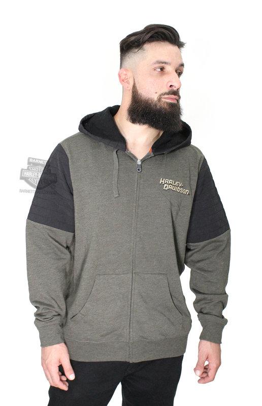 Harley-Davidson® Mens Fueled Corruption with Taslon Piecing Full Zip Olive Long Sleeve Hoodie *40th*