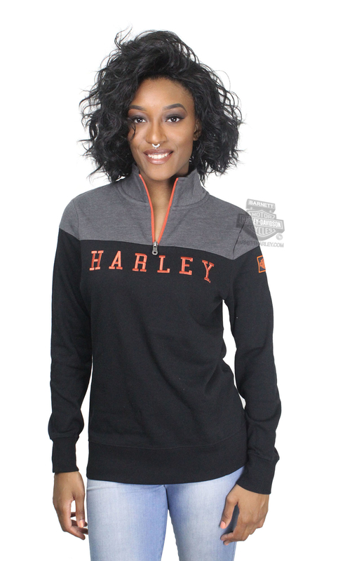 ** SIZE SMALL ONLY ** Harley-Davidson® Womens Quicker Than Luck 1/4-Zip Black Long Sleeve Sweatshirt *CIJ*