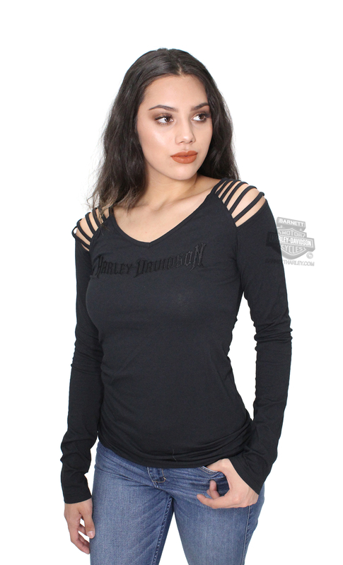 Harley-Davidson® Womens Hell Bound Rider Shoulder Straps V-Neck Black Long Sleeve T-Shirt *CIJ*