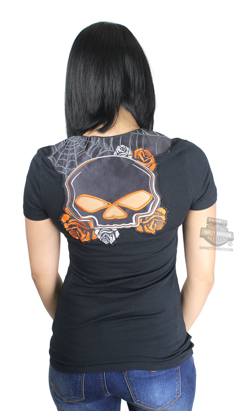 Harley-Davidson® Womens Eagle Fury II Willie G Skull Back Cutout V-Neck Black Short Sleeve T-Shirt