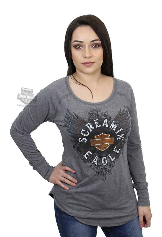 Harley-Davidson® Womens Screamin Eagle Intertwine Foil Print Grey Long Sleeve T-Shirt