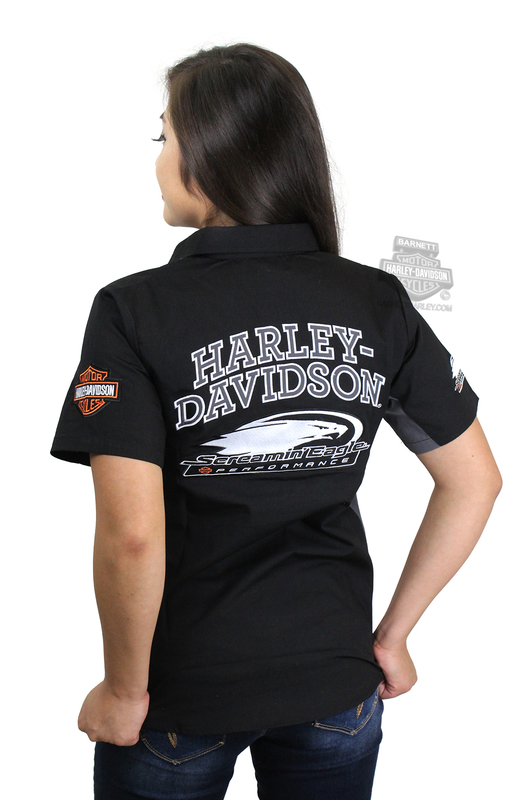 Harley-Davidson® Womens Screamin Eagle Competitor Crew Black Short Sleeve Woven Shirt