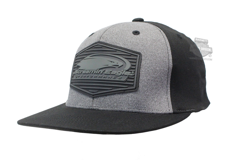 Harley-Davidson® Mens Screamin Eagle Tonal Patch Flat Bill Black Stretch Fit Baseball Cap