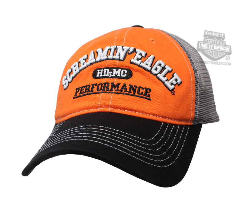 Harley-Davidson® Mens Screamin Eagle MVP Mesh Orange Baseball Cap