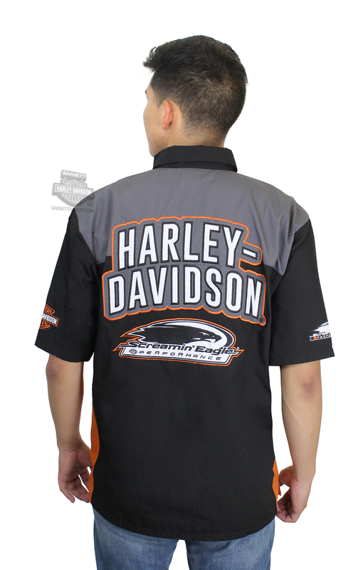 Harley-Davidson® Mens Screamin Eagle Momentum Crew Black Short Sleeve Woven Shirt