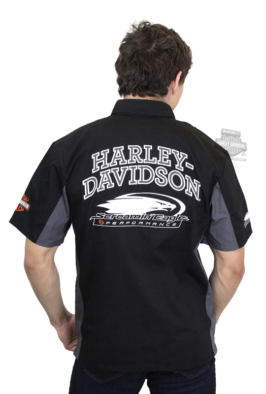 Harley-Davidson® Mens Screamin Eagle Competitor Crew Black Short Sleeve Woven Shirt