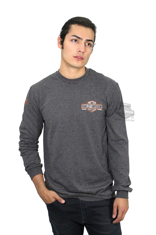 ** SIZE SMALL ONLY ** Harley-Davidson® Mens Wicked Logo Trademark B&S Charcoal Long Sleeve T-Shirt *36H2*