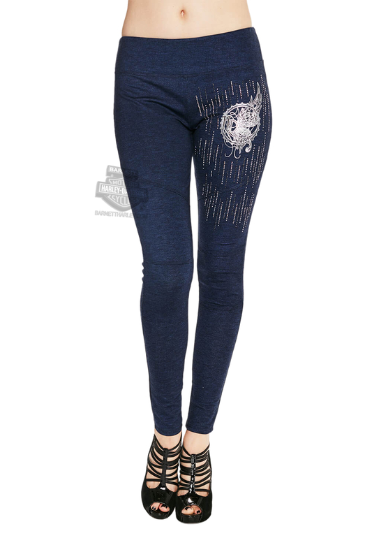 ** BIG SIZES ONLY ** Harley-Davidson® Womens Steel Butterfly Moto Style Blue Leggings by FCP Brands, Inc.