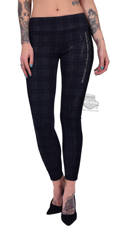 ** BIG SIZES ONLY ** Harley-Davidson® Womens Vertical Spikey Lace Trim Sides Plaid by FCP Brands, Inc.