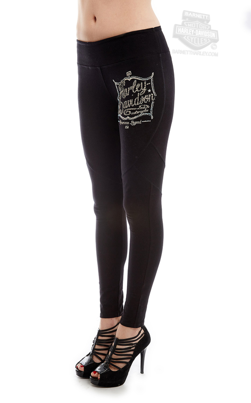** BIG SIZES ONLY ** Harley-Davidson® Womens Chalkboard Black Leggings by FCP Brands, Inc.