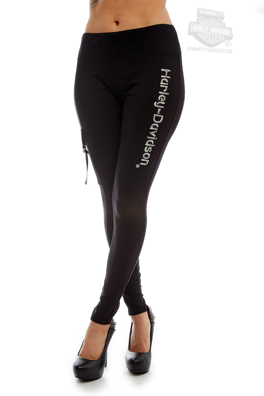 ** BIG SIZES ONLY ** Harley-Davidson® Womens Stripe H-D Black Leggings by FCP Brands, Inc.