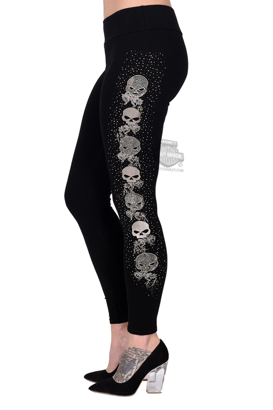 Harley-Davidson® Womens Willie G Skull Vine Black Leggings by FCP Brands, Inc.