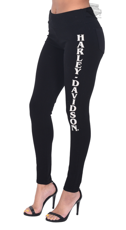 Harley-Davidson® Womens In My Back Pocket Side Graphic Black Leggings by FCP Brands, Inc.