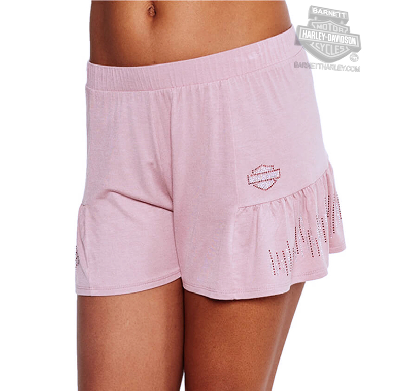 Harley-Davidson® Womens BNS Flair Pleated Pink Shorts by FCP Brands, Inc.