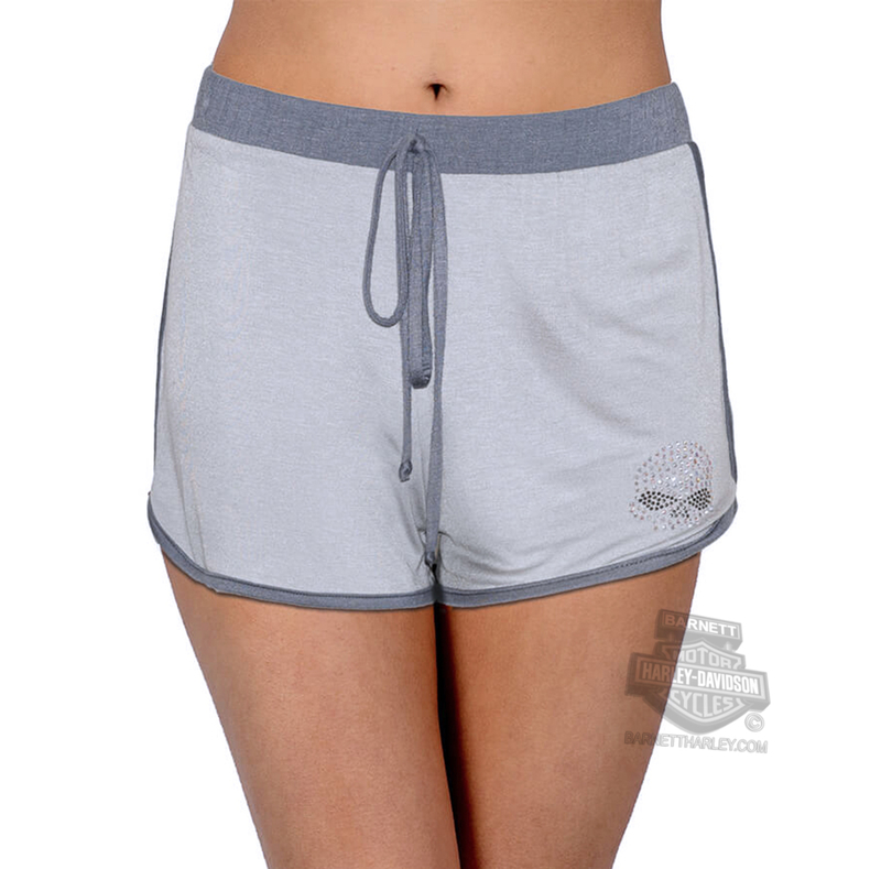 Harley-Davidson® Womens Willie G Skull Drawstring Elastic Grey Shorts by FCP Brands, Inc.
