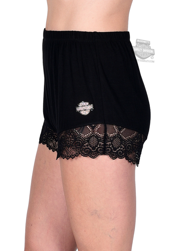Harley-Davidson® Womens Midnight Lace B&S Black Shorts by FCP Brands, Inc.