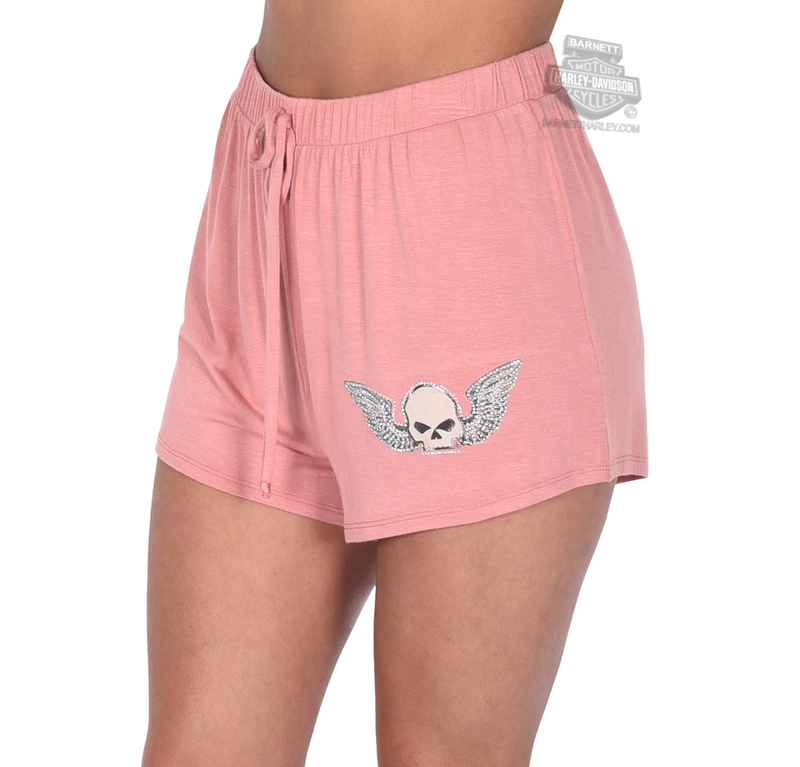 Harley-Davidson® Womens Genuine Wings II Willie G Skull Pink Shorts by FCP Brands, Inc.