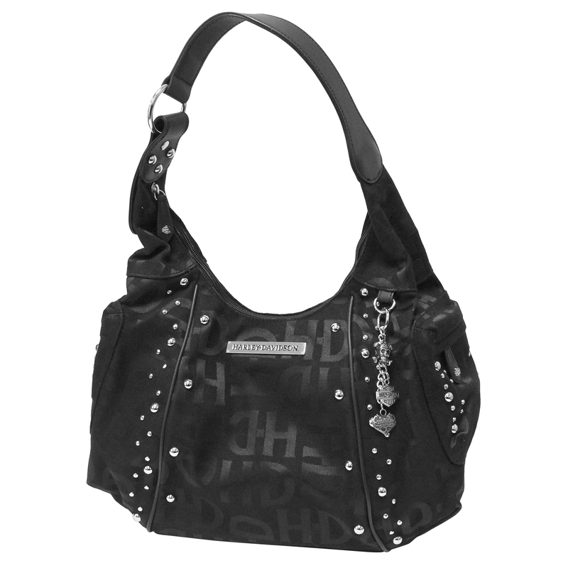 Harley Davidson Womens H D Logo Jacquard Hobo Purse Black Cotton Blend