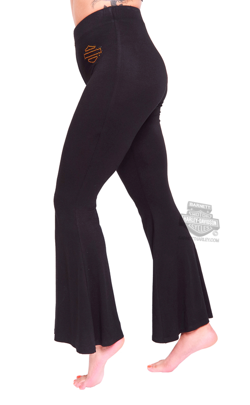 958c29a300 Harley-Davidson® Womens Rhinestone B&S with Lace Waistband Bell Bottom  Black Leggings by MJCK