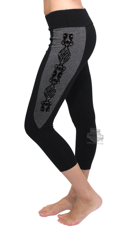 ** BIG SIZES ONLY ** Harley-Davidson® Womens HD Blossom Capri Side Cutout Details Black Leggings by FCP Brands, Inc.