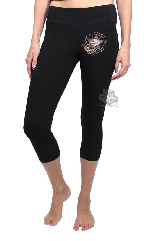 Harley-Davidson® Womens Flora Gear B&S Star Capri with Quilted Details Black Leggings by FCP Brands, Inc.