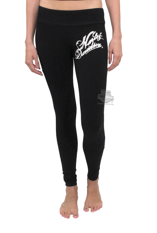 ** BIG SIZES ONLY ** Harley-Davidson® Womens HD Text Swirl Moto Style Black Leggings by FCP Brands, Inc.