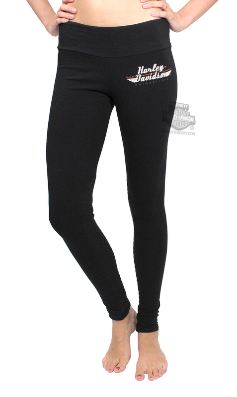 ** BIG SIZES ONLY ** Harley-Davidson® Womens HD Fall Logo with Quilted Details Black Leggings by FCP Brands, Inc.