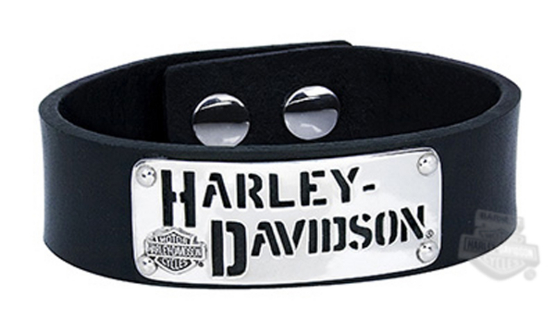 Harley-Davidson® Mens .925 Silver H-D Cutout Leather Cuff Bracelet by Mod Jewelry