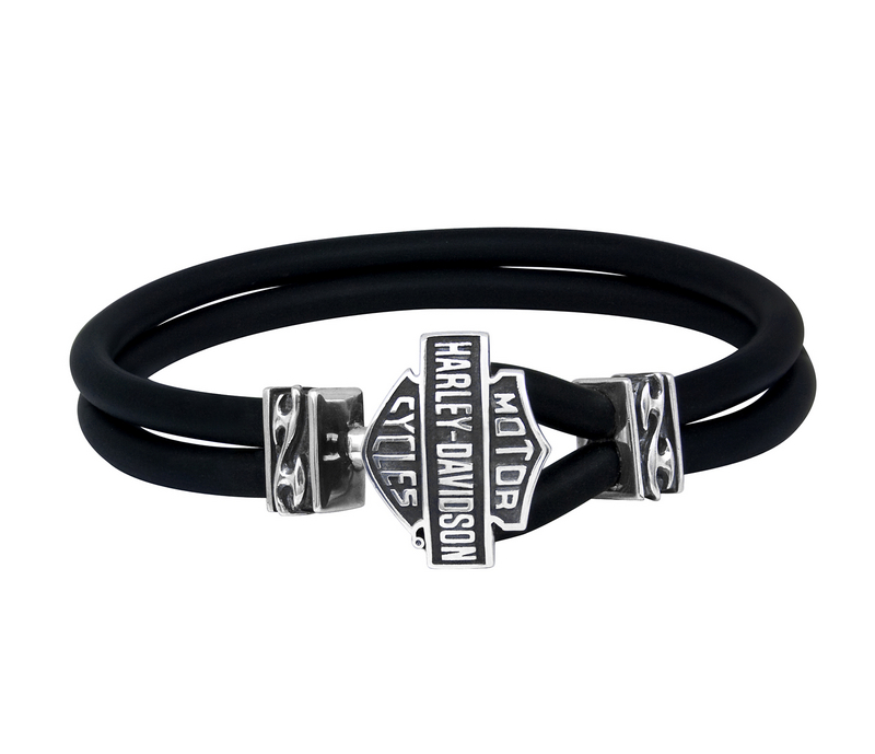 Harley Davidson Mens 925 Silver Tribal Flame With B S Leather Cord Bracelet