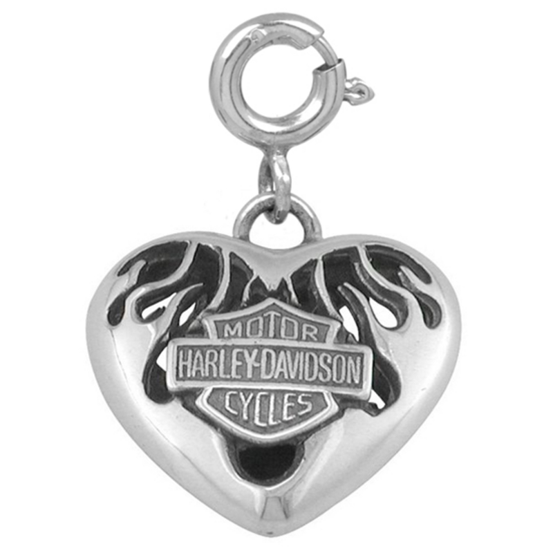Harley-Davidson® .925 Silver Flame Heart Womens Charm