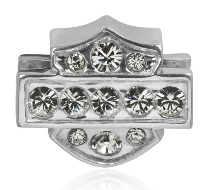 Harley-Davidson® .925 Silver Crystal Bling White Ride Womens Bead