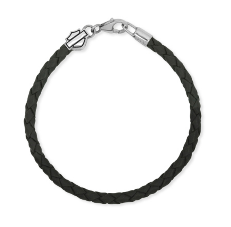 Harley-Davidson® .925 Silver Ride Bead Leather Braided Womens Bracelet