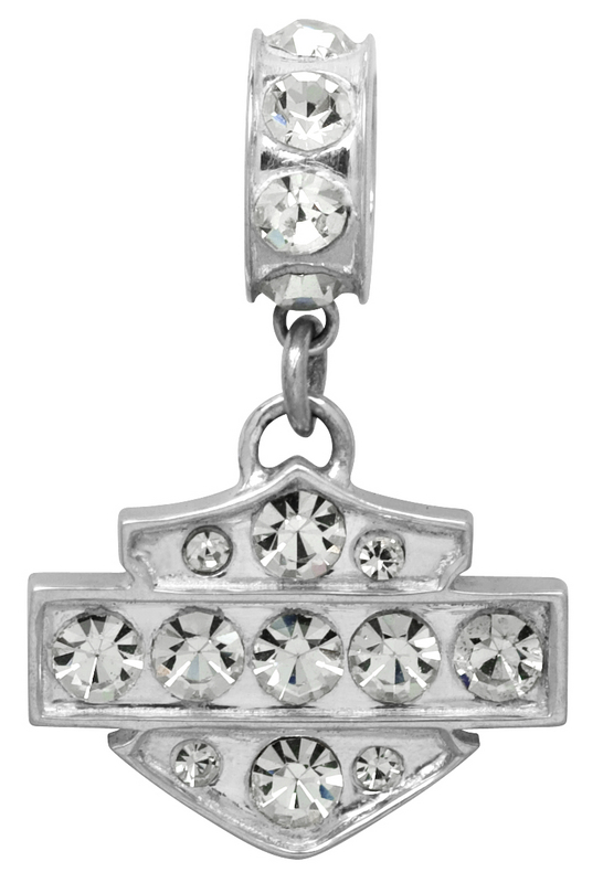 Harley-Davidson® .925 Silver Clear Crystal Ride Bead Pendant