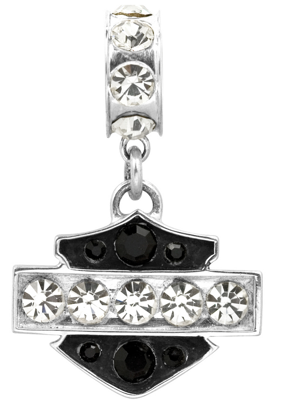 Harley-Davidson® .925 Silver Black and White Crystal Ride Bead Pendant