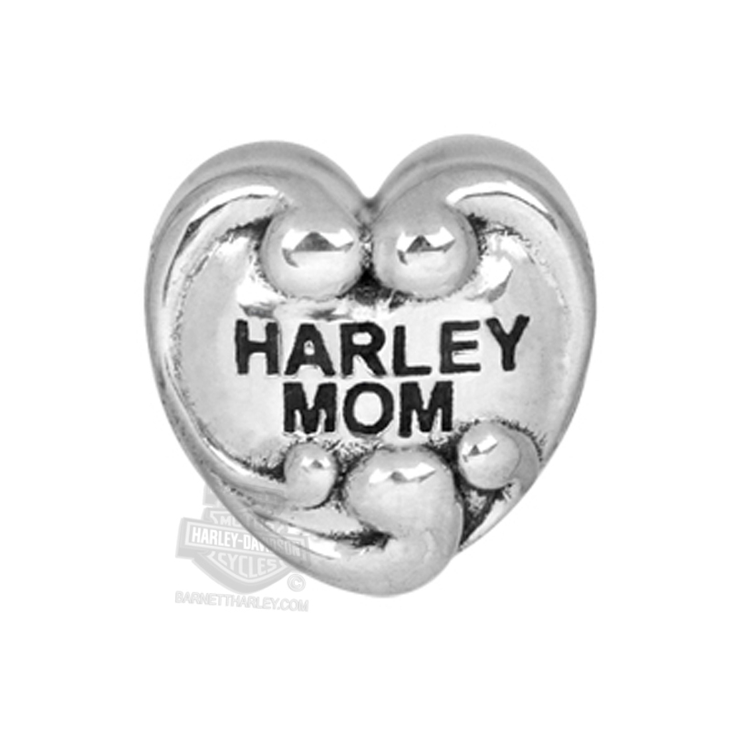 Harley-Davidson® Womens .925 Silver Harley Mom Heart Ride Bead by Mod Jewelry®