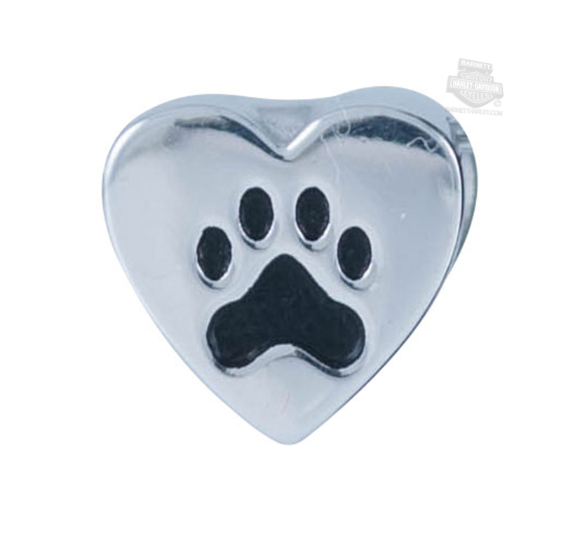 Harley-Davidson® Womens .925 Silver Dog Paw Heart Ride Bead by Mod Jewelry®