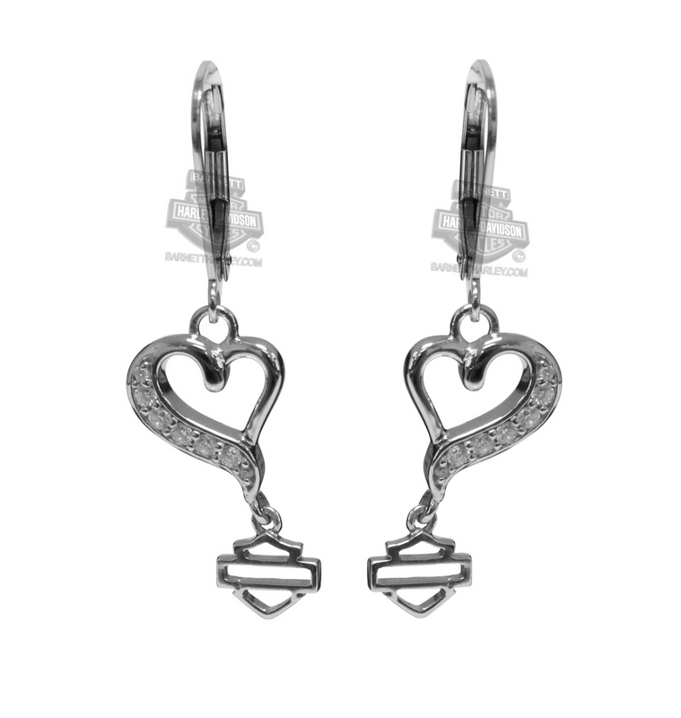 Harley-Davidson® Womens .925 Silver Rebel Heart with White CZ Drop Earrings