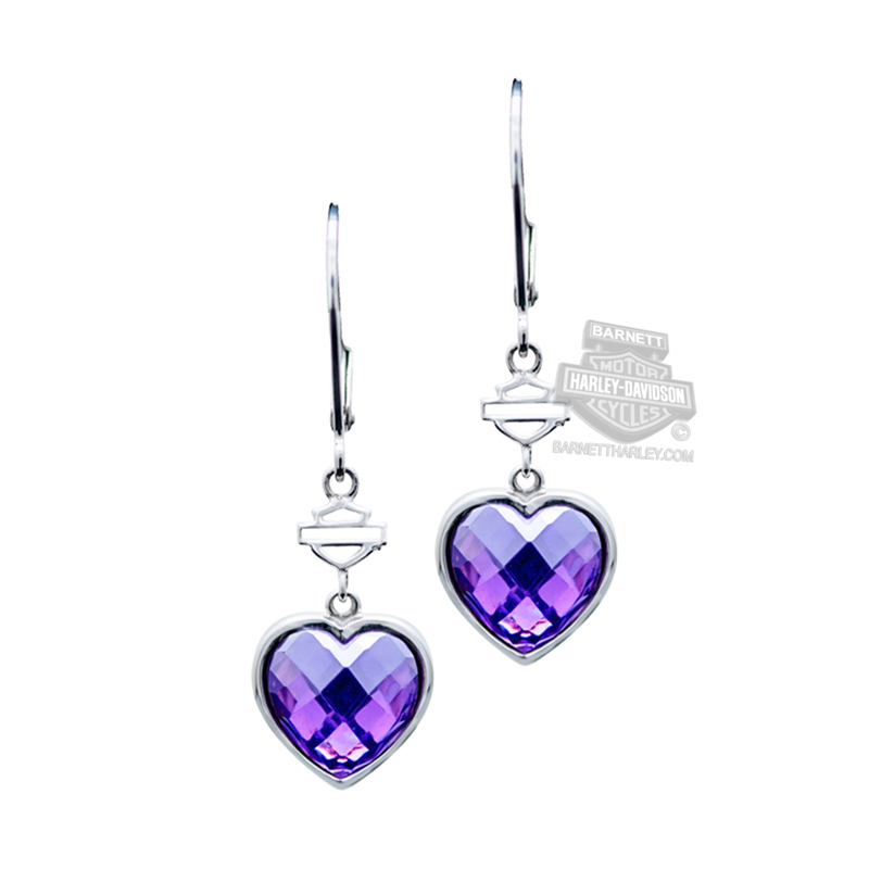 Harley-Davidson® Womens .925 Silver Purple Wing Heart Drop Earrings by Mod Jewelry®