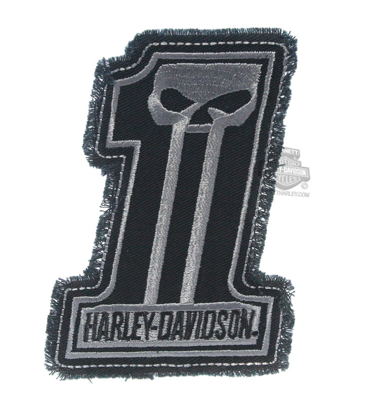 ** 2 for $10 ** Harley-Davidson® Dark Custom Grey #1 Skull Logo Cotton Patch