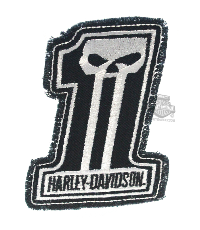 ** 2 for $10 ** Harley-Davidson® Dark Custom White #1 Skull Logo Cotton Patch