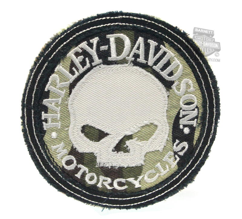** 2 for $10 ** Harley-Davidson® Willie G Skull Camo Frayed Edge Cotton Patch