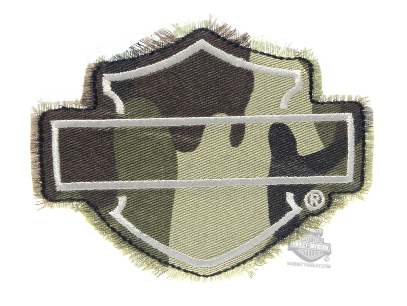 ** 2 for $10 ** Harley-Davidson® Camo B&S Frayed Edge Cotton Patch