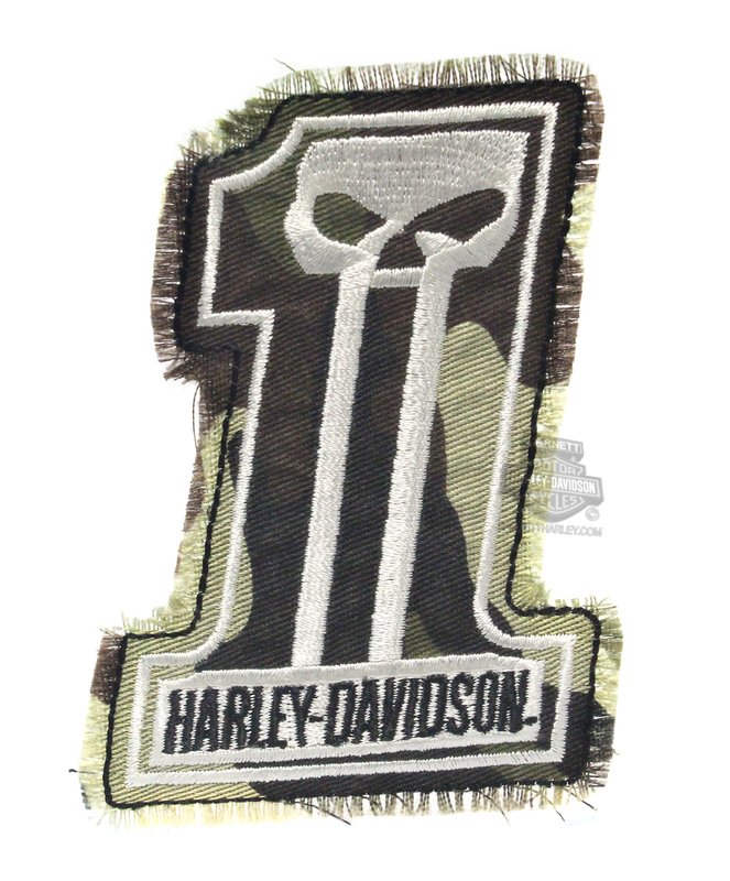 ** 2 for $10 ** Harley-Davidson® Dark Custom Camo #1 Skull Logo Cotton Patch