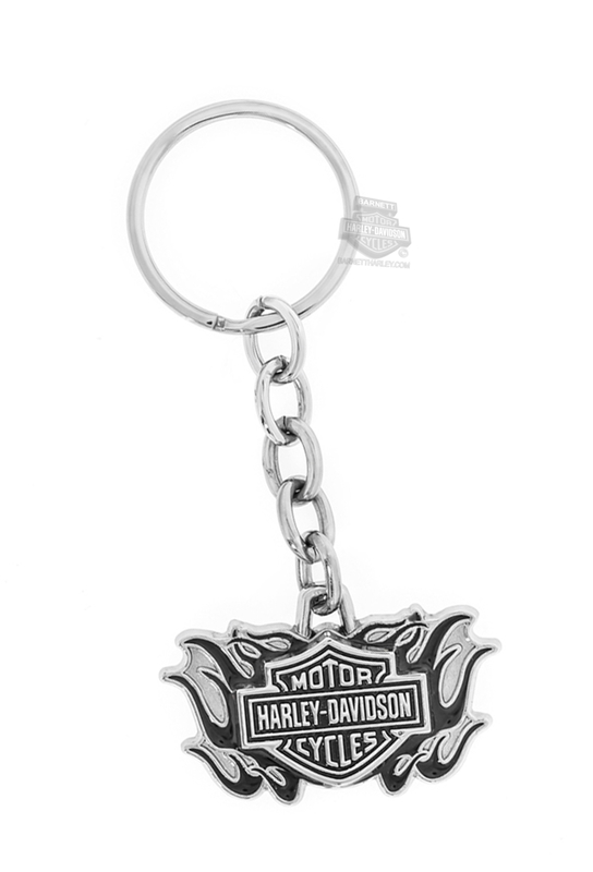 Harley-Davidson® Mens Black Flames with B&S Keychain